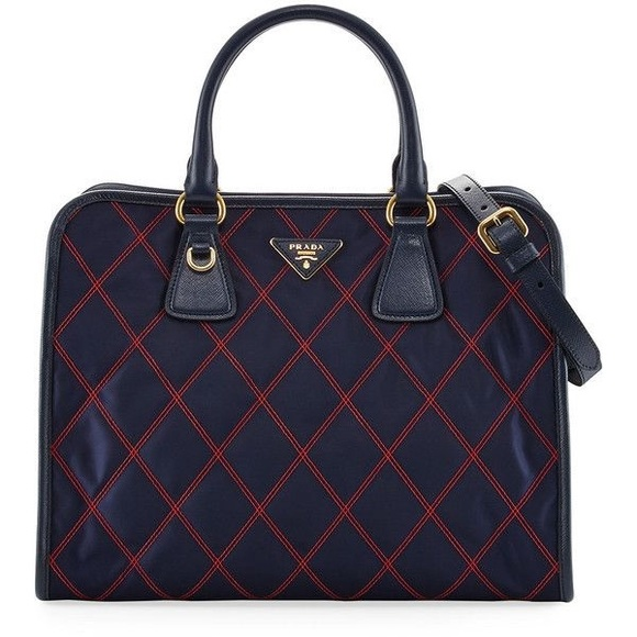 Prada Handbags - Gorgeous PRADA Bicolor Quilted Top Handle Bag